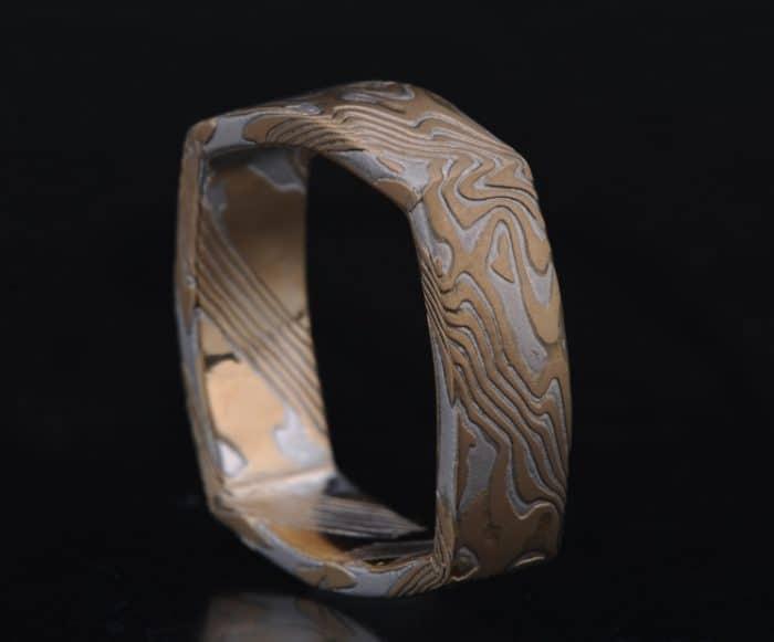 square gold wedding ring