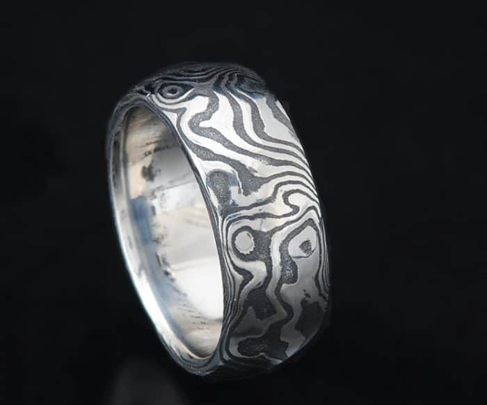 mens black Damascus wedding ring