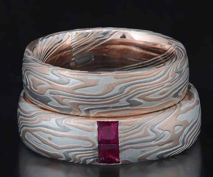red gold mokume and ruby ring