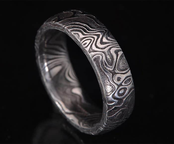blackened stainless steel wedding ring