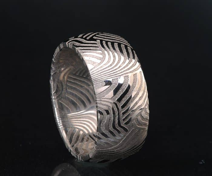 Damascus weave pattern ring