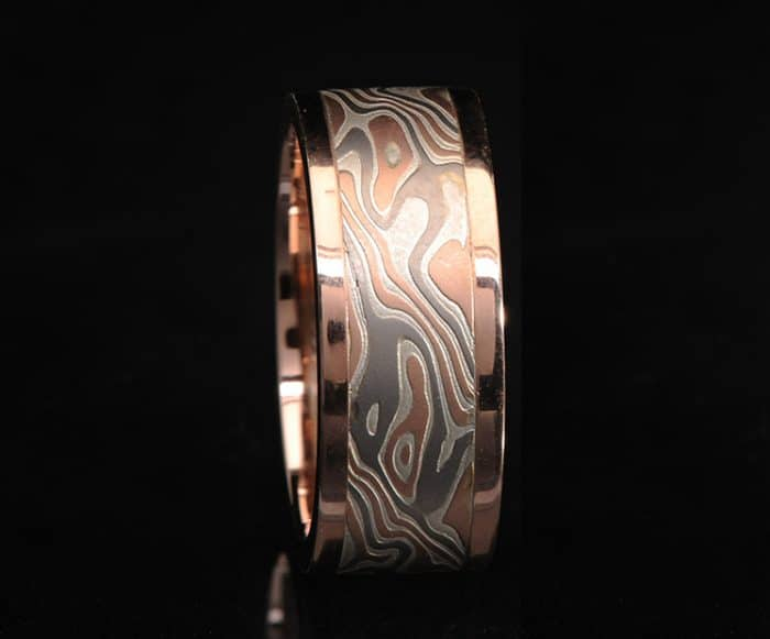 flat red gold wedding ring