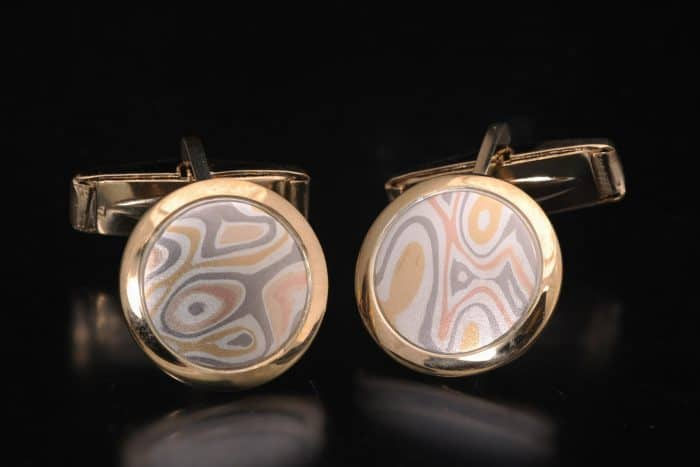 unique gold mokume cufflinks