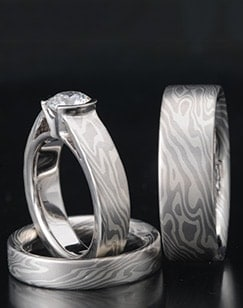 Mokume Wedding Sets