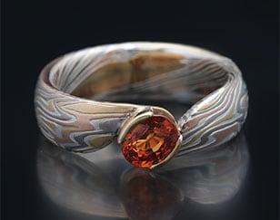 custom bypass mokume ring