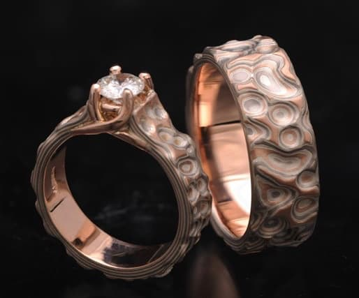 unique matching red gold wedding set