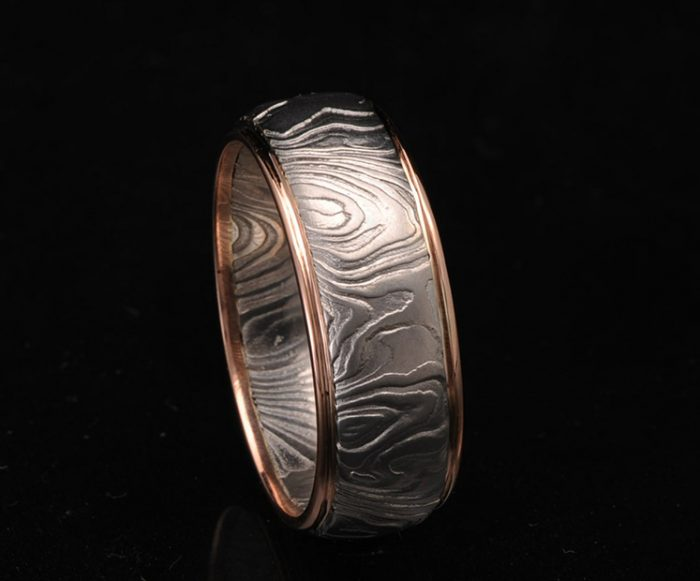 unique damascus wedding ring
