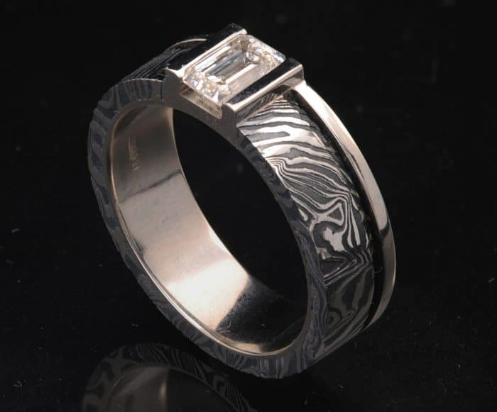 stainless steel diamond ring