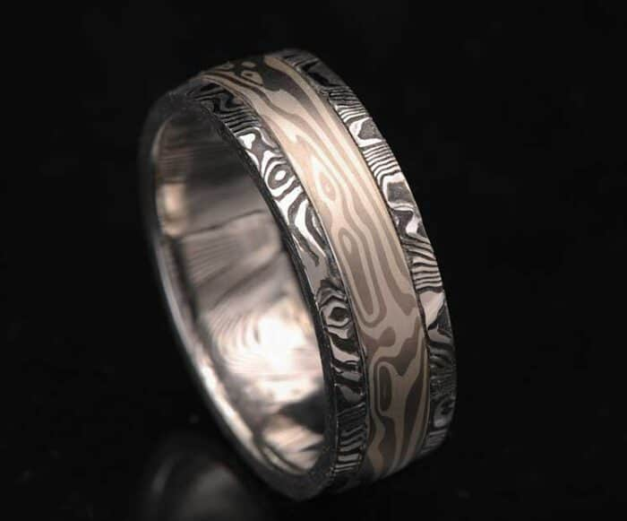 PALLADIUM BLACKENED DAMASCUS RING