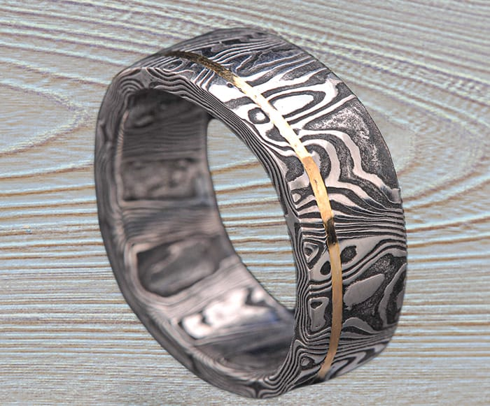 black Damascus gold ring