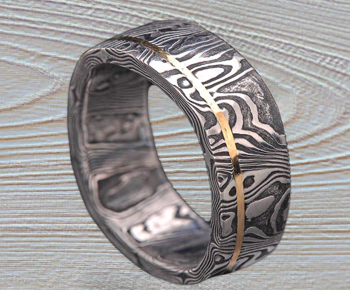 black Damascus gold ring