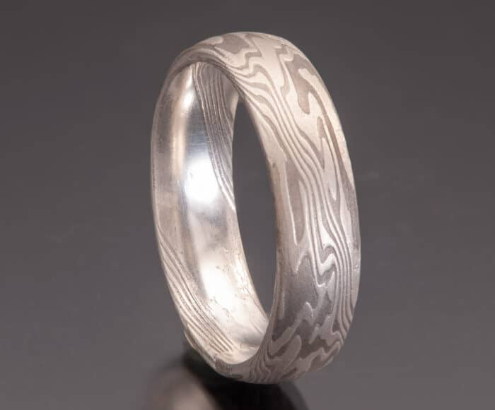Domed Shibuichi Wedding Band
