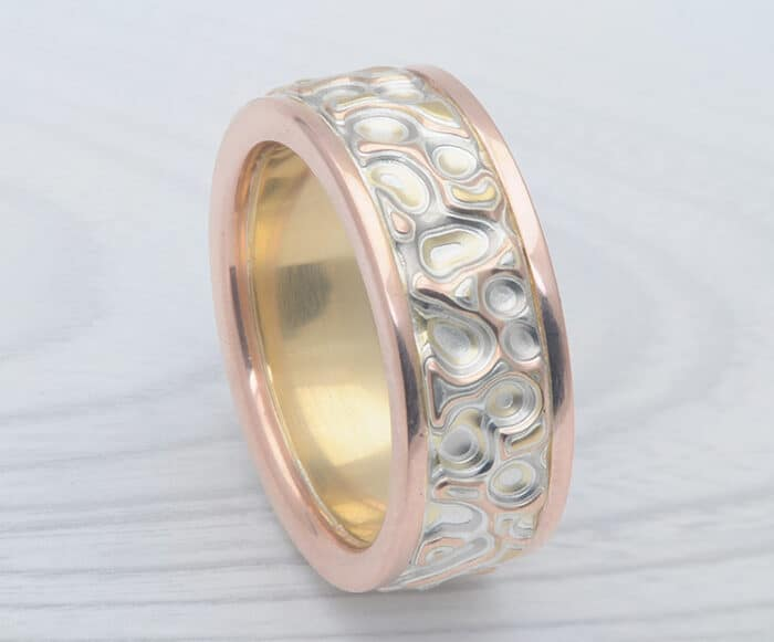 mens unique carved mokume ring