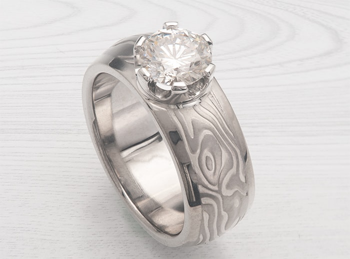 prong mokume ring
