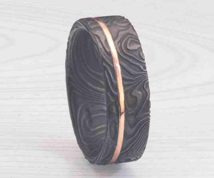 black Damascus wedding ring