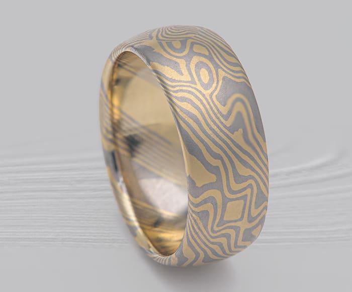 yellow and white mokume ring