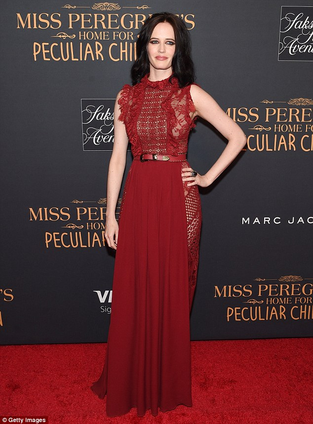 Ravishing in red: Eva Green looked fantastic as she attended the New York premiere of Miss Peregrine's Home For Peculiar Children on Monday night