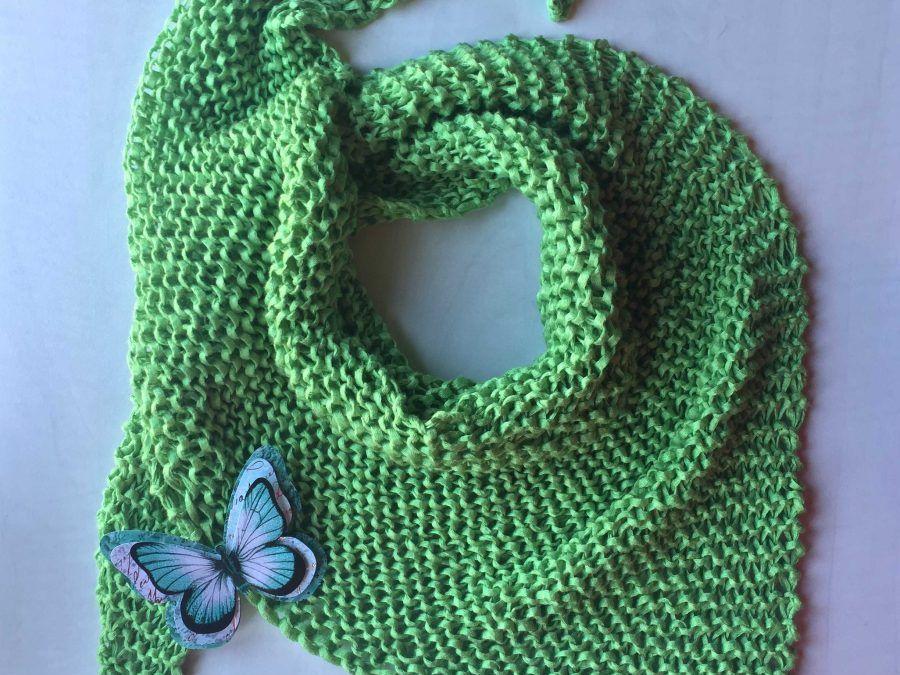 Patrón de pañuelo a calceta primaveral ( Verde que te quiero verde!!! )