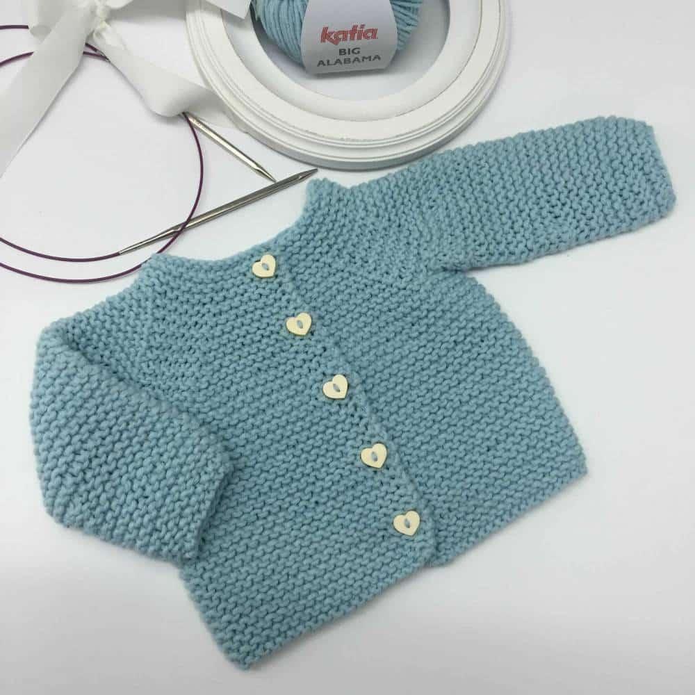 Patrón y tutorial de chaqueta de punto para bebé paso a paso c7fbb856f6c3