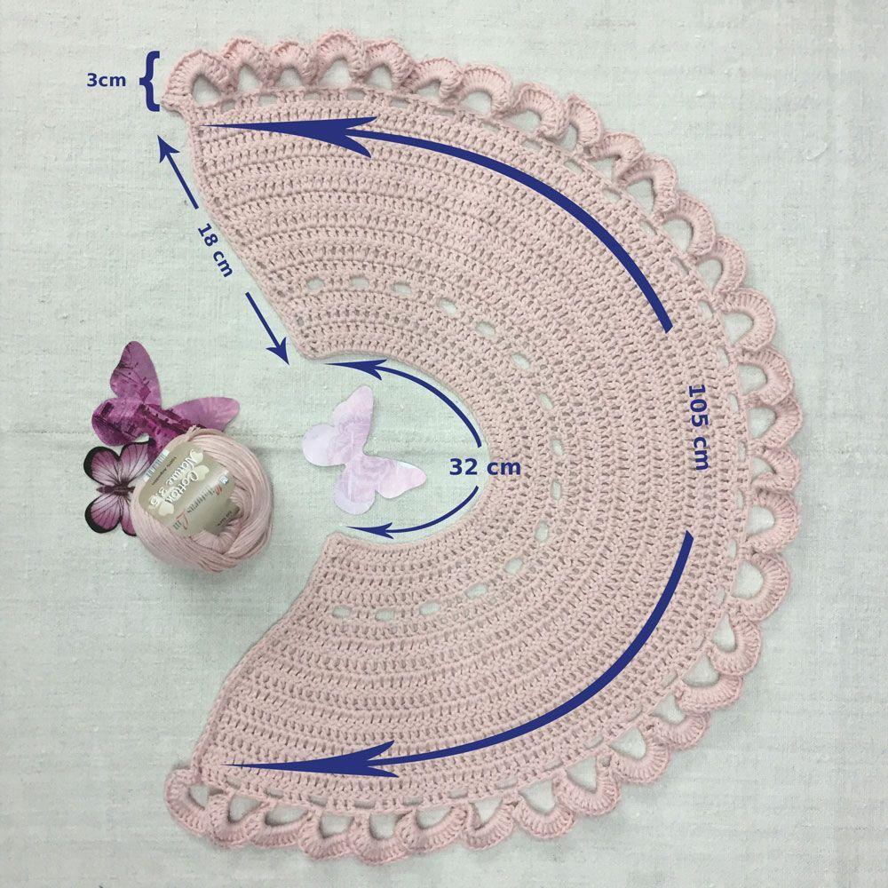 Grafico de medidas de Shawl crochet