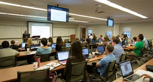 Law Librarian and professor Erica Cohn gives a training session for staff members of the law journal Monday at the new St. Louis University Law School.  The fall semester begins in a week at the new downtown campus.  KAREN ELSHOUT/photo