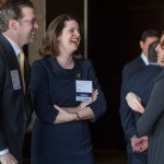 Lawyer of the Year Cynthia Cordes chats with people from Husch Blackwell before the event. Cynthia Cordes is a Partner at Husch Blackwell. The firm was an event sponsor.