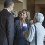 Missouri Bar President Reuben Shelton is introduced to 2014 WJA honoree Laurie Hauber, center, at the 2015 Women's Justice Awards banquet held at the Four Seasons in St. Louis, MO. Making the introductions is former Woman of the Year Doreen Dodson.  At right is Polsinelli attorney Tara Nealey.