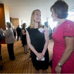 Legal Scholar honoree Erin Morrow Hawley chats with Missouri Supreme Court Chief Justice Mary Russell at the reception for the 2015 Women's Justice Awards.