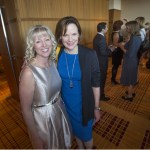 2015 WJA Public Service Practitioner honoree Teresa Hensley, on left, stands with friend, fellow prosecutor, and WJA alum Jennifer Joyce at the 2015 WJA reception.