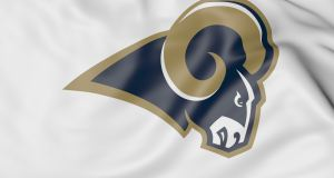 Close-up of waving flag with Los Angeles Rams NFL American football team logo, United States
