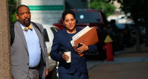 St. Louis Circuit Attorney Kimberly Gardner (right) and Ronald Sullivan, a Harvard law professor, arrive at the Civil Courts building for the third day of jury selection in Missouri Gov. Eric Greitens' invasion of privacy trial, Monday, May 14, 2018, in St. Louis. (Christian Gooden/St. Louis Post-Dispatch via AP)
