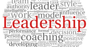 Leadership in word tag cloud on white