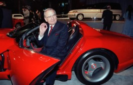 In this March 28, 1990, file photo, Chrysler Corporation Chairman Lee Iacocca sits in a 1990 Dodge Viper sports car as the Chrysler in the 90's six city tour makes a visit to New York. Former Chrysler CEO Iacocca, who became a folk hero for rescuing the company in the '80s, has died. He was 94. AP Photo by Osamu Honda