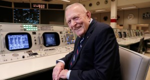 "Gene Kranz, aerospace engineer, fighter pilot, an Apollo-era flight director and later director of NASA flight operations, sits at the console where he worked during the Gemini and Apollo missions at the NASA Johnson Space in Houston. ""The impact is incredible,"" Kranz, 85, said. With all the vacated seats, the room reminded him of a shift change when flight controllers would hit the restroom. ""So this room is now empty and it's soon going to be filled and all of a sudden, the energy that this room possesses is going to start enveloping the environment here."" AP Photo by Michael Wyke"