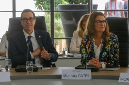 Melinda Gates, right, and US Treasury Secretary Steve Mnuchin attend a meeting at the G-7 Finance in Chantilly, north of Paris. AP Photo by Michel Euler