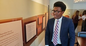 Jaylon Muchison, a 17-year-old senior at Belleville West High School, checks out the exhibits at the Judicial Learning Center in the Thomas S. Eagleton U.S. Courthouse in St. Louis. Photo by Nicholas Phillips
