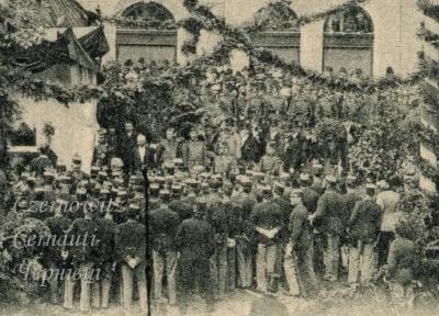 Про Чернівці в старих фото. Закладка наріжного каменю пам'ятнику полеглим воїнам 41 піхотного полку.