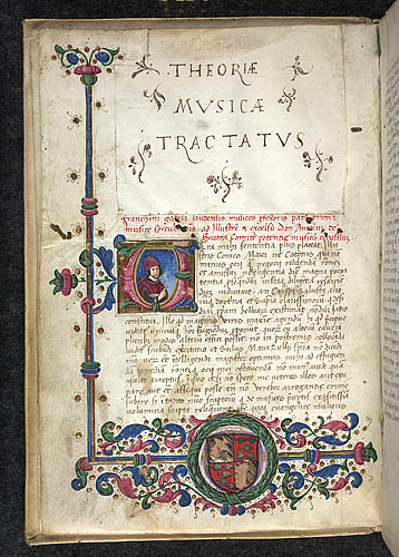 Historiated initial and partial border with heraldic arms, at the beginning of Franchino Gafori's Theoriae Musicae Tractatus. Domaine public. Source : British Library