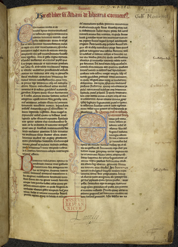 British Library, MS Royal 13 D v, fo. 1, the opening page of a copy of Geoffrey of Monmouth's Historia Regum Britanniae