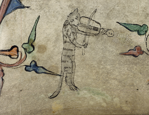Cat playing a rebec