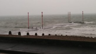 Amazingly, a couple of brave surfers were out there somewhere...