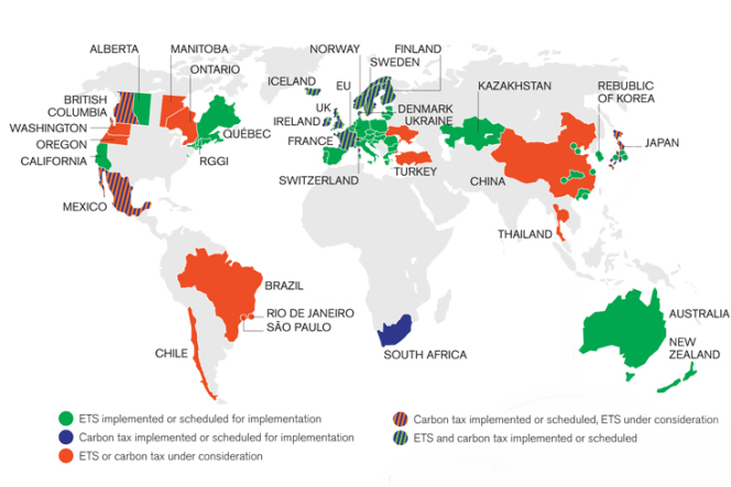 Growth of carbon pricing around the world. Image courtesy of the World Bank