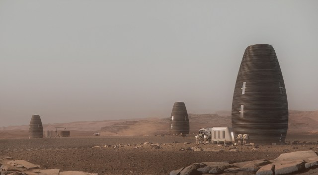 Marsha is a 3D-printed lofty stand-alone cocoon that makes use of Mars rock debris and other sustainable materials
