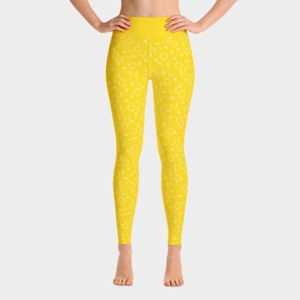 Yoga Leggings Lots of Serotonin Molecules Yellow Front