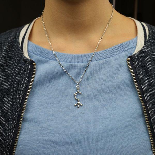 Acetylcholine Molecule Necklace Flat