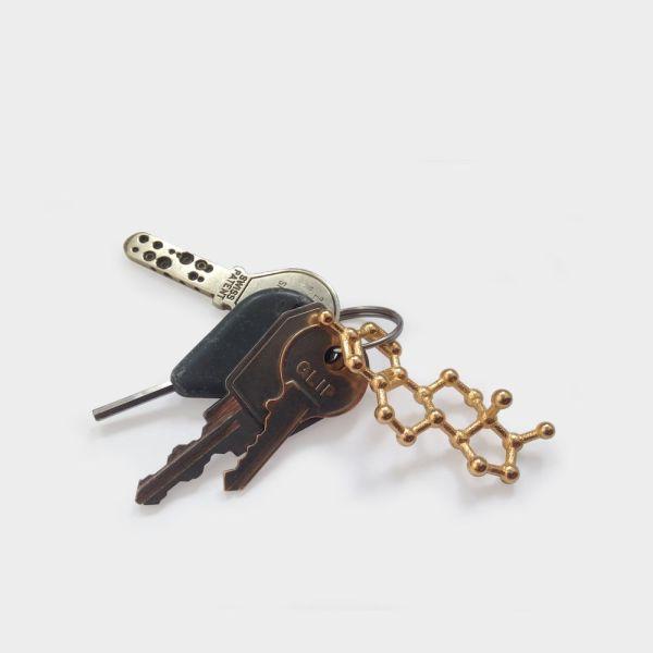 Estrogen Molecule Keychain Gold Steel