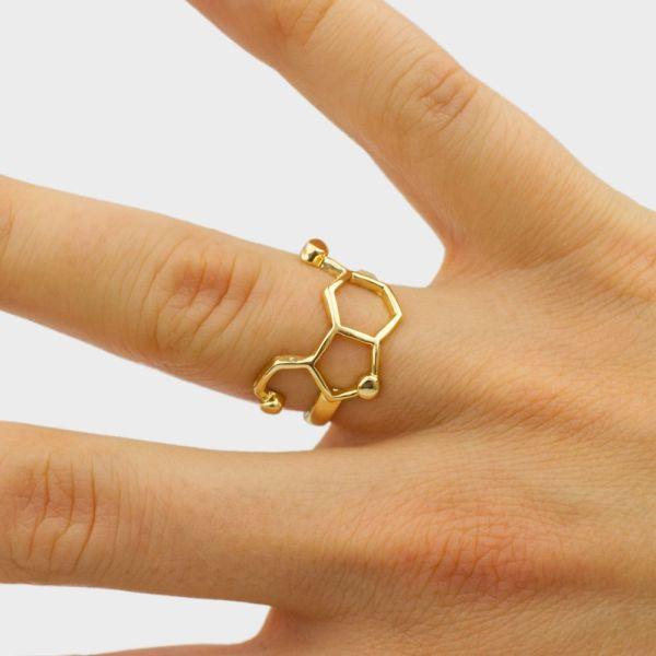 Serotonin Molecule Ring Hand Gold