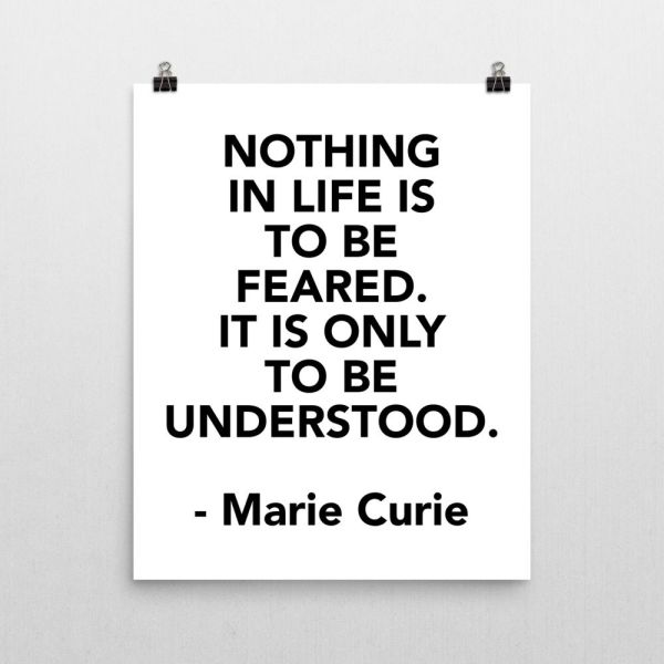 Marie Curie Fear Quote Poster