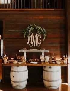 wedding dessert table // vintage, rustic // homemade cookies, toffee, peanut brittle, donuts, candy // wedding cake alternative // wedding dessert bar