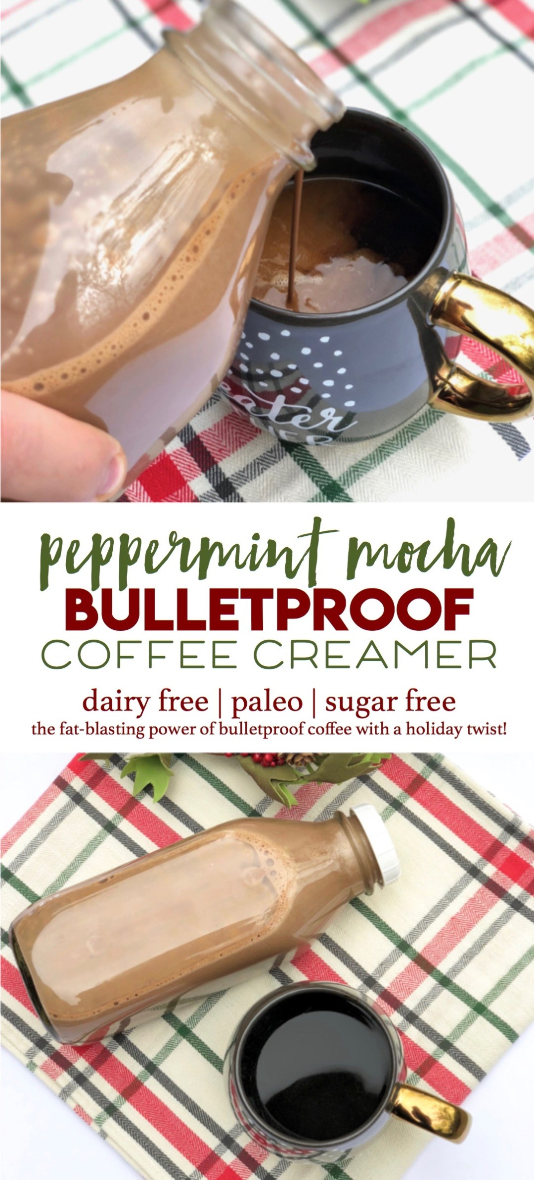It's like Christmas in a cup! This peppermint mocha coffee creamer makes bulletproof coffee easy and festive. | paleo, dairy free, sugar free with all the fat-blasting power of bulletproof coffee